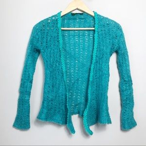 Oilily Mohair Teal Cropped Open Cardigan